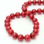 Gemstone Bead - Smooth Round 12MM DOLOMITE DYED RED