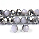 Chinese Cut Crystal Bead 32 Facet - Round 06MM PURPLE with HALF SILVER