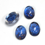 Glass Medium Dome Lampwork Cabochon - Oval 14x10MM GOLD FLECK SAPPHIRE (05054)