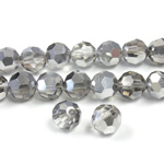 Chinese Cut Crystal Bead 32 Facet - Round 06MM CRYSTAL with HALF SILVER