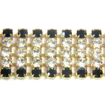 Preciosa Rhinestone Chain - 5 Row PP18 JET-CRYSTAL-RAW