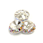 Czech Rhinestone Rondelle Shrag Rivoli Back Setting - Round 15MM outside with 10.5mm (ss47) Recess CRYSTAL AB-SILVER