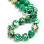 Gemstone Bead - Smooth Round 12MM SEA SEDIMENT JASPER DYED GREEN