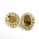 Czech Rhinestone Button - Oval 22x18MM CRYSTAL-GOLD
