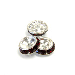 Czech Rhinestone Rondelle Shrag Rivoli Back Setting - Round 12MM outside w 08mm (ss38) Recess SIAM RUBY-SILVER