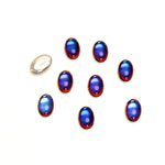 Glass Medium Dome Foiled Cabochon - Coated Oval 06x4MM VULCANO