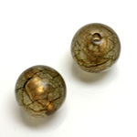 Plastic Bead - Bronze Lined Veggie Color Smooth Large Hole  Round 18MM MATTE OLIVE