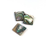 Shell Flat Back Flat Top Straight Side Stone - Square 12x12MM ABALONE