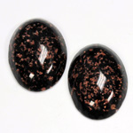 Glass Medium Dome Lampwork Cabochon - Oval 25x18MM GOLD FLECK JET (05056)