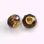 Glass Faceted Bead with Large Hole Gold Plated Center - Round 14x9MM AMETHYST