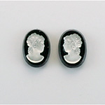 German Plastic Cameo - Woman Oval 14x10MM MATTE CRYSTAL ON JET