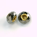 Glass Faceted Bead with Large Hole Gold Plated Center - Round 14x9MM HEMATITE