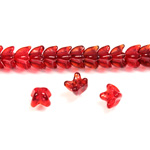 Czech Pressed Glass Bead - Cap 06MM RUBY