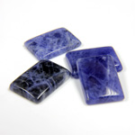 Gemstone Flat Back Single Bevel Buff Top Stone - Cushion 14x10MM SODALITE