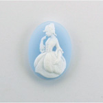 Plastic Cameo - Girl Oval 25x18MM WHITE ON BLUE