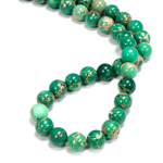 Gemstone Bead - Smooth Round 08MM SEA SEDIMENT JASPER DYED GREEN