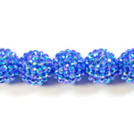 Acrylic Rhinestone Bead with 2MM Hole Resin Base - 18MM SAPPHIRE
