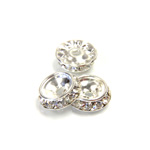 Czech Rhinestone Rondelle Shrag Rivoli Back Setting - Round 12MM outside w 08mm (ss38) Recess CRYSTAL-SILVER