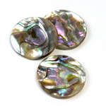 Shell Flat Back Flat Top Straight Side Stone - Round 24MM ABALONE