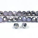 Chinese Cut Crystal Bead 32 Facet - Round 04MM PURPLE with HALF SILVER