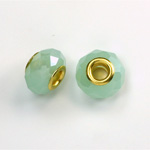 Glass Faceted Bead with Large Hole Gold Plated Center - Round 14x9MM OPAL GREEN