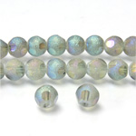 Glass Bead - Round Coated with Cut Window - 06MM BLUE GREEN METALLIC