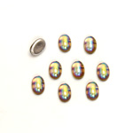 Glass Medium Dome Foiled Cabochon - Coated Oval 06x4MM BLACK DIAMOND AB
