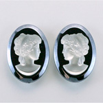 German Plastic Cameo - Woman Oval 25x18MM MATTE CRYSTAL ON HEMATITE