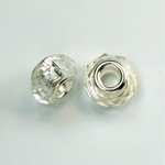 Glass Faceted Bead with Large Hole Silver Plated Center - Round 14x9MM CRYSTAL