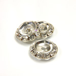 Czech Rhinestone Rondelle Shrag Flat Back Setting - Round 15MM outside with 09mm Recess CRYSTAL-SILVER