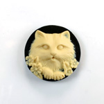 Plastic Cameo - Cat Round 25MM IVORY ON BLACK