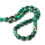 Gemstone Bead - Smooth Oval 09x6MM SEA SEDIMENT JASPER DYED GREEN