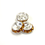 Czech Rhinestone Rondelle Shrag Rivoli Back Setting - Round 12MM outside w 08mm (ss38) Recess TOPAZ-SILVER