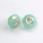 Glass Faceted Bead with Large Hole Silver Plated Center - Round 14x9MM OPAL GREEN