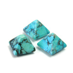 Gemstone Cabochon - Square Pyramid Top 10x10MM HOWLITE DYED CHINESE TURQ