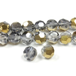 Chinese Cut Crystal Bead 32 Facet - Round 06MM CRYSTAL with HALF GOLD