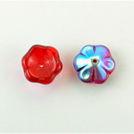 Czech Glass Flower with Center Hole - Round 12MM RUBY AB