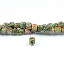 Gemstone Bead - Smooth Cube 2.5MM Diameter Hole 06x6MM EPIDOTE