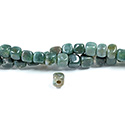 Gemstone Bead - Smooth Cube 2.5MM Diameter Hole 06x6MM FANCY JASPER