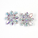 Preciosa Rhinestone Brass Button - Flower 23MM CRYSTAL AB-RHODIIUM