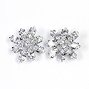 Preciosa Rhinestone Brass Button - Flower 23MM CRYSTAL-RHODIUM