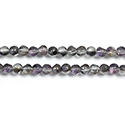 Glass Bead - Round Coated with Cut Window - 04MM METALLIC CRYSTAL/HALF DARK RAINBOW