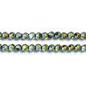 Glass Bead - Round Coated with Cut Window - 04MM MATTE HELIO GREEN
