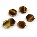 Gemstone Flat Back Flat Top Back Bevel Stone - Hexagon 08.5MM TIGEREYE