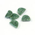 Gemstone Flat Back Flat Top Straight Side Stone - Half Oval 10x7MM WYOMING JADE