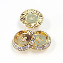 Czech Rhinestone Rondelle Shrag Flat Back Setting - Round 15MM outside with 09mm Recess CRYSTAL-RAW BRASS