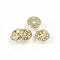 Czech Rhinestone Rondelle Shrag Rivoli Back Setting - Round 09MM outside with 04.3mm (ss18) Recess CRYSTAL-GOLD