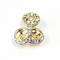Czech Rhinestone Rondelle Shrag Rivoli Back Setting - Round 12MM outside w 08mm (ss38) Recess CRYSTAL AB-GOLD