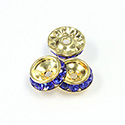 Czech Rhinestone Rondelle Shrag Rivoli Back Setting - Round 12MM outside w 08mm (ss38) Recess SAPPHIRE-RAW