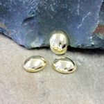 Plastic Flat Back Metalized Cabochon - Oval 12x10MM GOLD